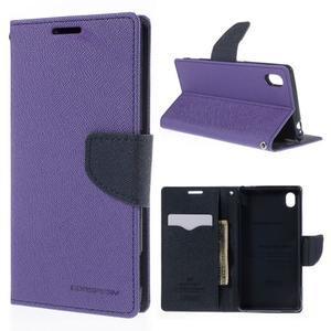 Ochranné pouzdro na Sony Xperia M4 Aqua - fialové/tmavěmodré - 1