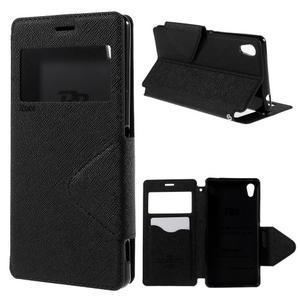 Peněženkové pouzdro s okýnkem pro Sony Xperia M4 Aqua - černé - 1