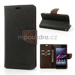 Fancy peněženkové pouzdro na mobil Sony Xperia Z1 - černé/hnědé - 1