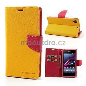 Fancy peněženkové pouzdro na mobil Sony Xperia Z1 - žluté - 1