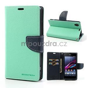 Fancy peněženkové pouzdro na mobil Sony Xperia Z1 - azurové - 1