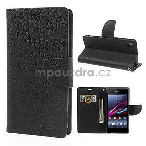 Fancy peněženkové pouzdro na mobil Sony Xperia Z1 - černé - 1