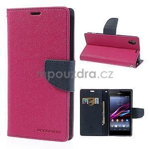 Fancy peněženkové pouzdro na mobil Sony Xperia Z1 - rose - 1