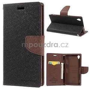 Peněženkové pouzdro na mobil Sony Xperia Z3 - černé/hnědé - 1