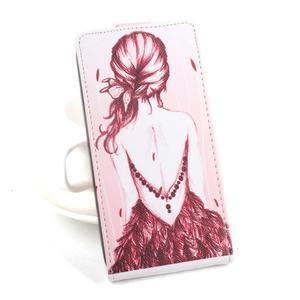 Flipové pouzdro na mobil Acer Liquid Z520 - záda dívky red - 1