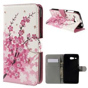 Nice koženkové pouzdro na mobil Acer Liquid Z520 - kvetoucí větvička - 1