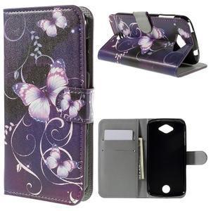 Valet peněženkové pouzdro na Acer Liquid Z530 - fialový motýl - 1