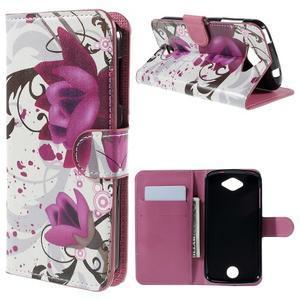 Valet peněženkové pouzdro na Acer Liquid Z530 - fialové květy - 1
