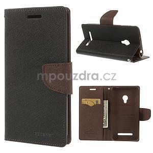 Černé/hnědé peněženkové pouzdro na Asus Zenfone 5 - 1