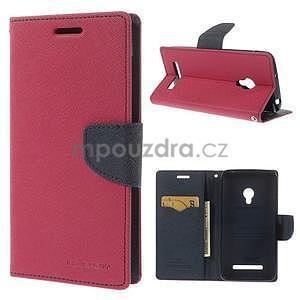Rose/tmavě modré peněženkové pouzdro na Asus Zenfone 5 - 1