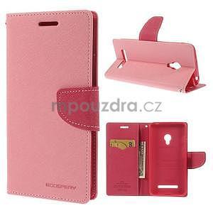 Růžové/rose peněženkové pouzdro na Asus Zenfone 5 - 1