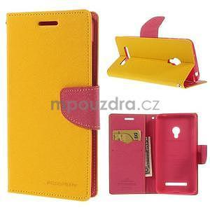 Žluté/rose peněženkové pouzdro na Asus Zenfone 5 - 1