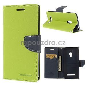 Zelené/tmavě modré peněženkové pouzdro na Asus Zenfone 5 - 1