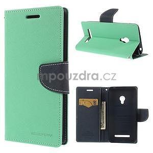 Azurové/tmavě modré peněženkové pouzdro na Asus Zenfone 5 - 1