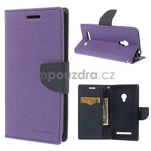 Fialové/tmavě modré peněženkové pouzdro na Asus Zenfone 5 - 1