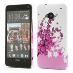 Plastový kryt na HTC One M7 - kvetoucí větvička - 1/4