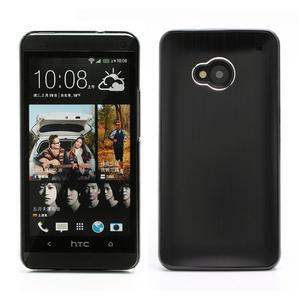 Broušený hliníkový plastový kryt na HTC One M7 - černý - 1