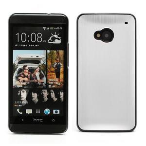Broušený hliníkový plastový kryt na HTC One M7 - stříbrný - 1