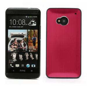 Broušený hliníkový plastový kryt na HTC One M7 - červený - 1