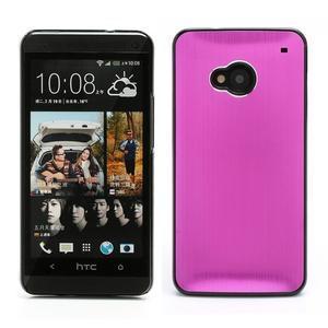 Broušený hliníkový plastový kryt na HTC One M7 - rose - 1