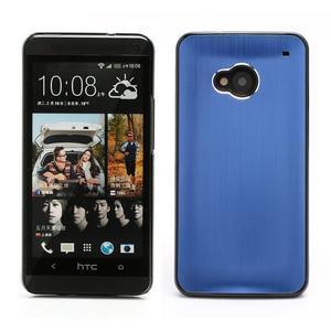 Broušený hliníkový plastový kryt na HTC One M7 - modrý - 1