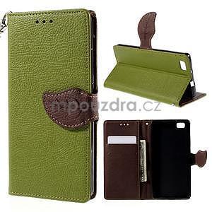 Zapínací PU kožené pouzdro na Huawei P8 Lite - zelené - 1