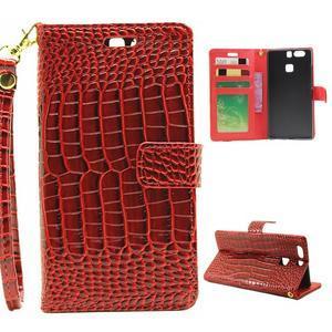 Croco peněženkové pouzdro na Huawei P9 - červené - 1