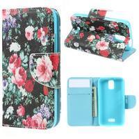 Peněženkové pouzdro na mobil Huawei Y3 a Y360 - květiny - 1/7