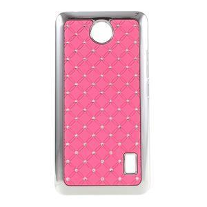 Drahokamový plastový kryt na Huawei Y635 -  růžový - 1