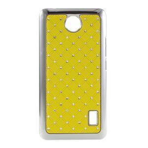 Drahokamový plastový kryt na Huawei Y635 - žlutý - 1