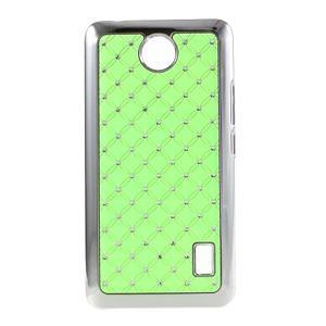 Drahokamový plastový kryt na Huawei Y635 - zelený - 1