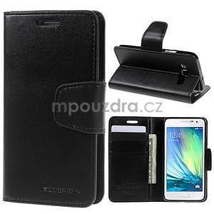 Černé PU kožené peněženkové pouzdro na Samsung Galaxy A3 - 1