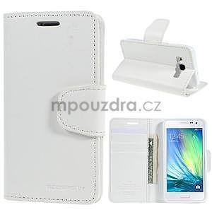 Bílé PU kožené peněženkové pouzdro na Samsung Galaxy A3 - 1