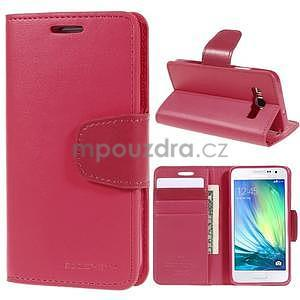Rose PU kožené peněženkové pouzdro na Samsung Galaxy A3 - 1