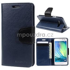 Tmavě modré PU kožené peněženkové pouzdro na Samsung Galaxy A3 - 1