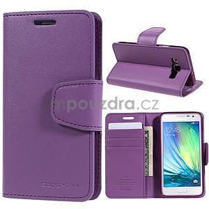 Fialové PU kožené peněženkové pouzdro na Samsung Galaxy A3 - 1