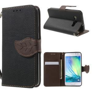 Černé/hnědé PU kožené pouzdro na Samsung Galaxy A3 - 1