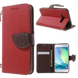 Červené/hnědé PU kožené pouzdro na Samsung Galaxy A3 - 1