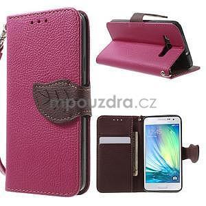 Rose/hnědé PU kožené pouzdro na Samsung Galaxy A3 - 1