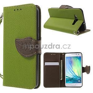 Zelené/hnědé PU kožené pouzdro na Samsung Galaxy A3 - 1