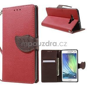 Červené/hnědé PU kožené pouzdro na Samsung Galaxy A5 - 1