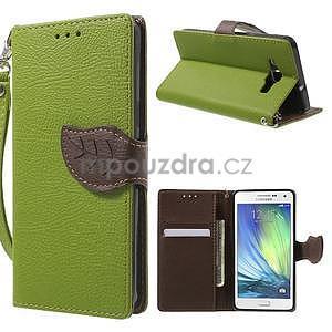 Zelené/hnědé PU kožené pouzdro na Samsung Galaxy A5 - 1