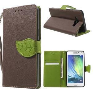 Hnědé/zelené PU kožené pouzdro na Samsung Galaxy A5 - 1