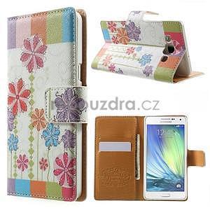 Peněženkové zapínací pouzdro na Samsung Galaxy A5 - barevné květiny - 1