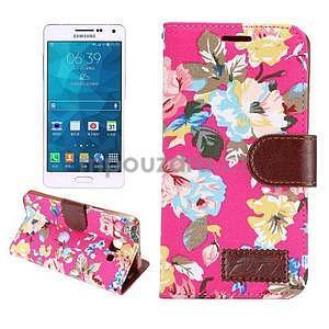 Květinové peněženkové pouzdro na Samsung Galaxy A5 - rose - 1