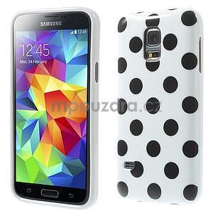 Bílý puntíkatý gelový obal na Samsung Galaxy S5 mini - 1