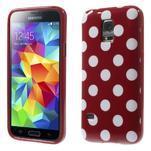 Červený puntíkatý gelový obal na Samsung Galaxy S5 mini - 1/5