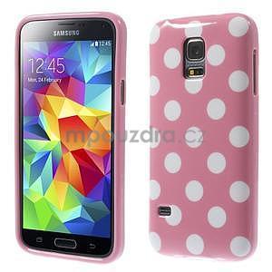 Růžový puntíkatý gelový obal na Samsung Galaxy S5 mini - 1