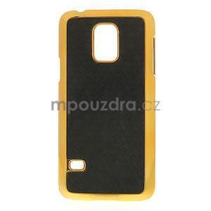 Černé elegantní plastové pouzdro se zlatým lemem na Samsung Galaxy S5 mini - 1