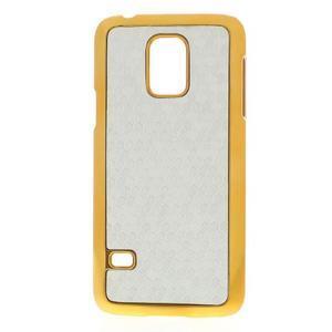 Stříbrné elegantní plastové pouzdro se zlatým lemem na Samsung Galaxy S5 mini - 1